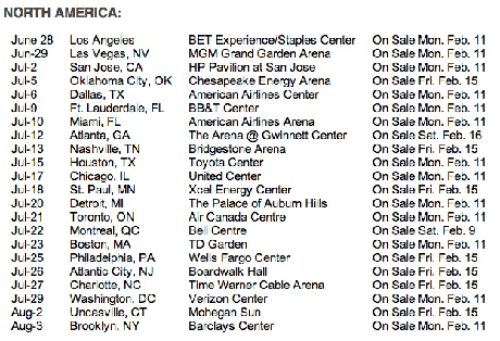 beyonce north america tour dates