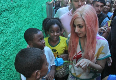 Lady Gaga Rocks Pink Hair in Brazil